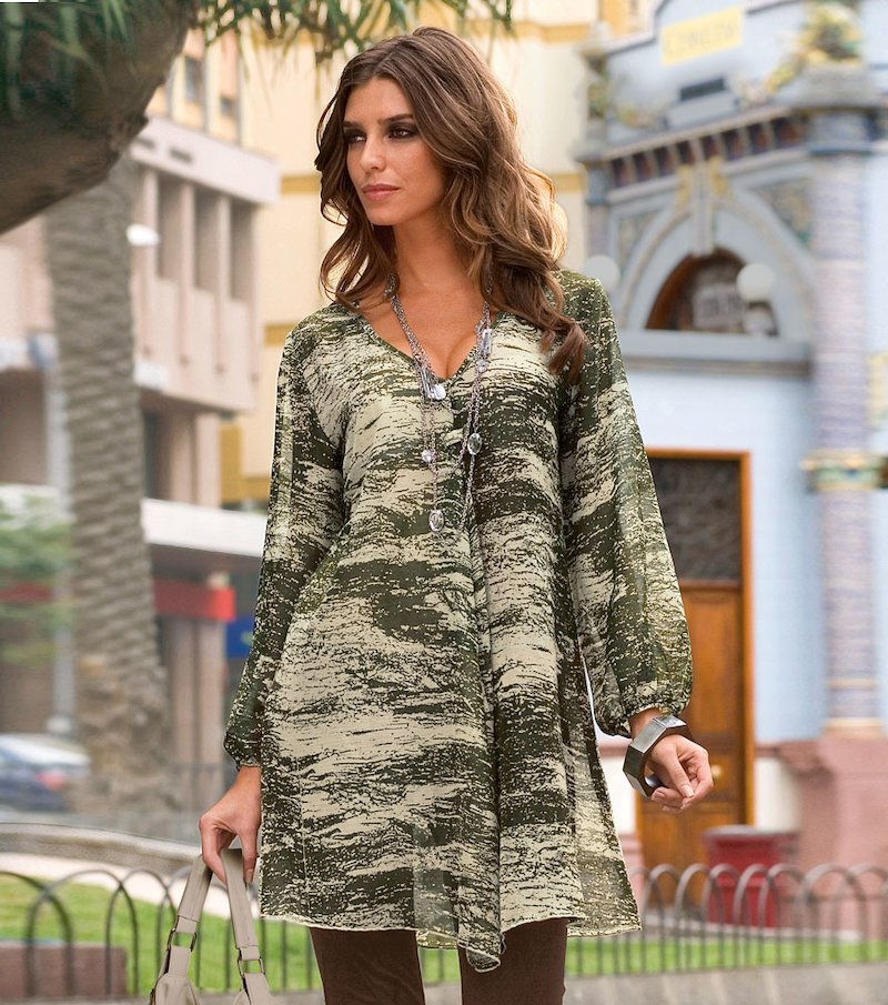 Camisa túnica mujer manga larga estampada - Verde