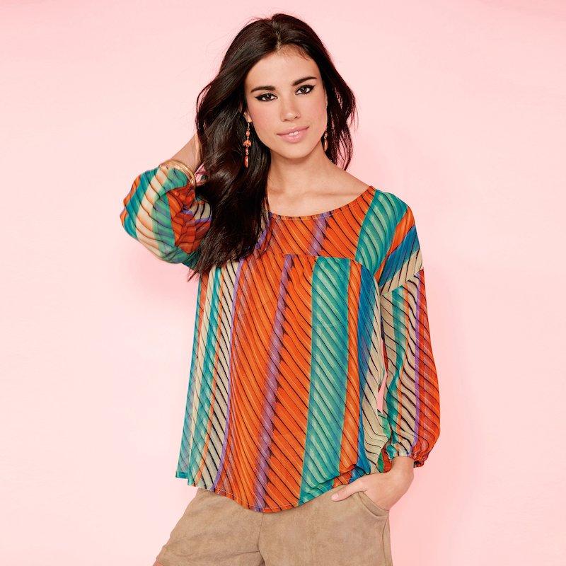 Camisa mujer manga larga estampado multicolor