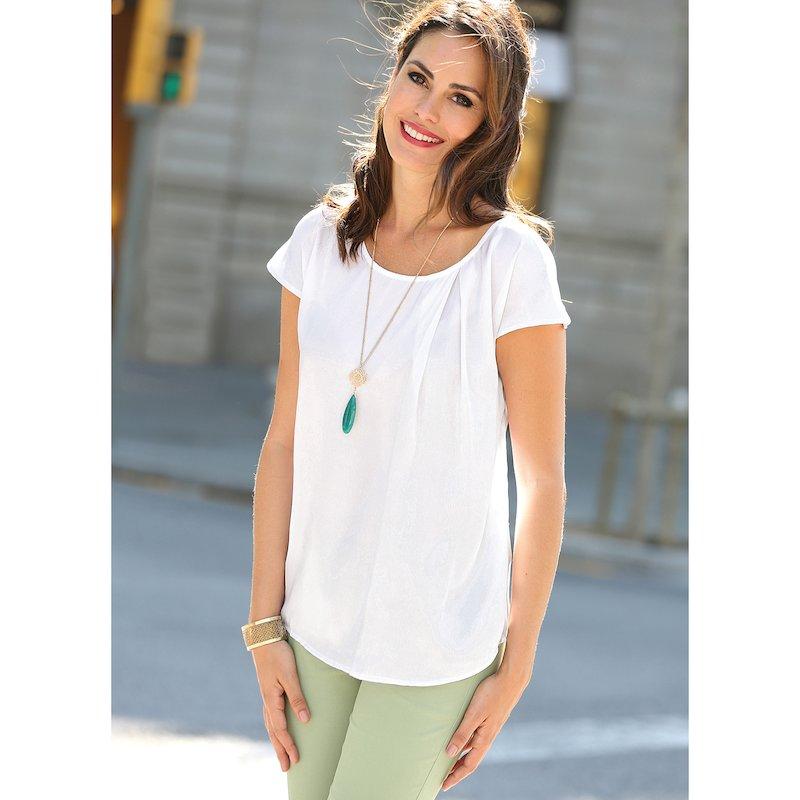 Blusa suave satén para mujer manga corta con pliegue - Blanco