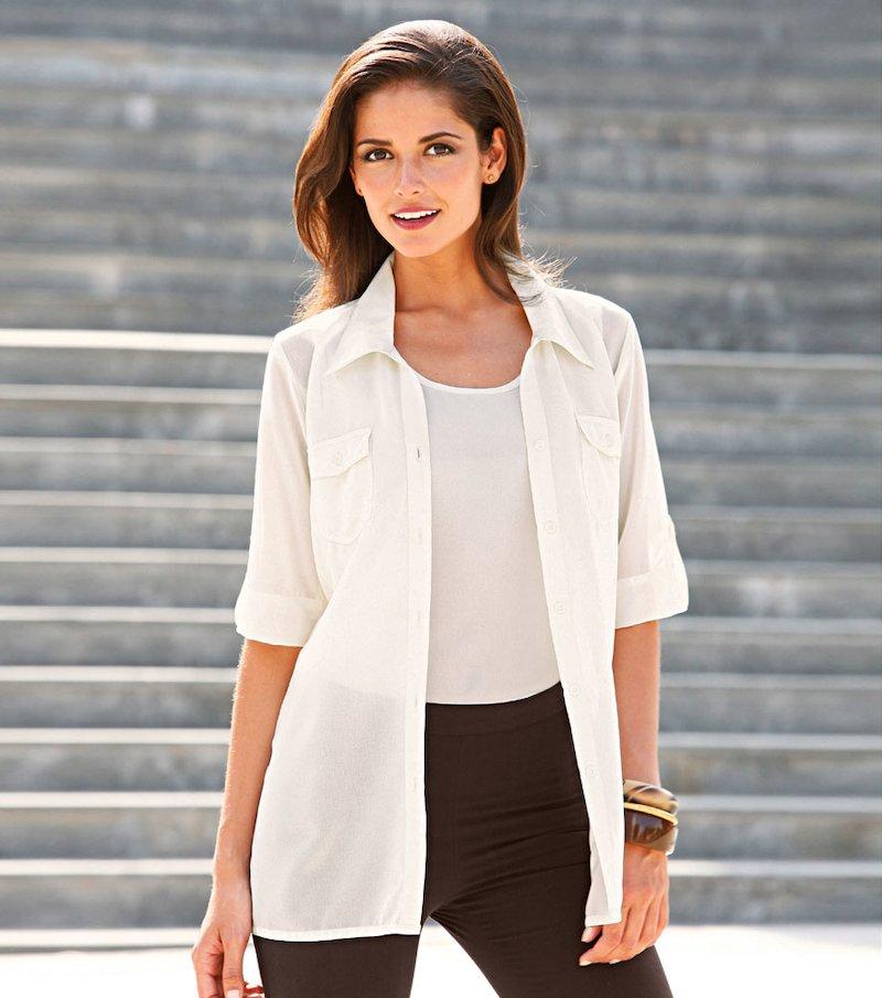 Camisa larga mujer con cinturón en tejido crepe