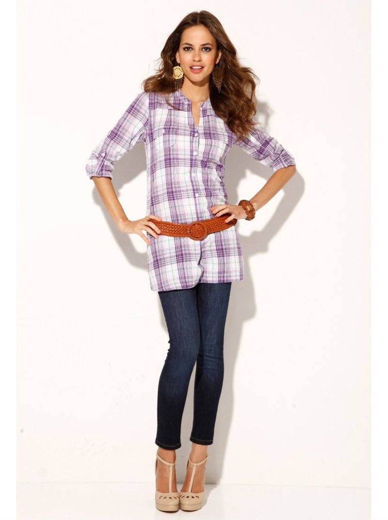 Camisa mujer manga larga regulable 100% algodón - Rosa