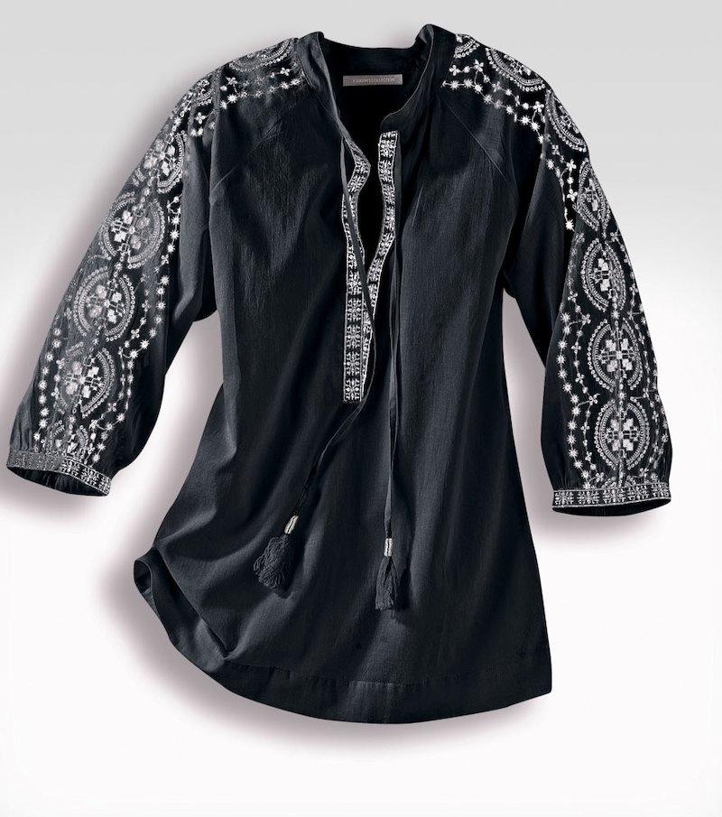 Blusa de mujer bordada cambric 100% algodón