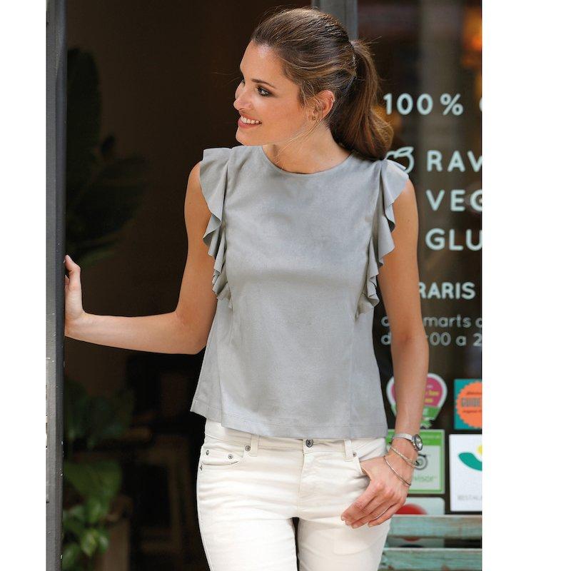 Blusa sin mangas mujer con volantes antelina