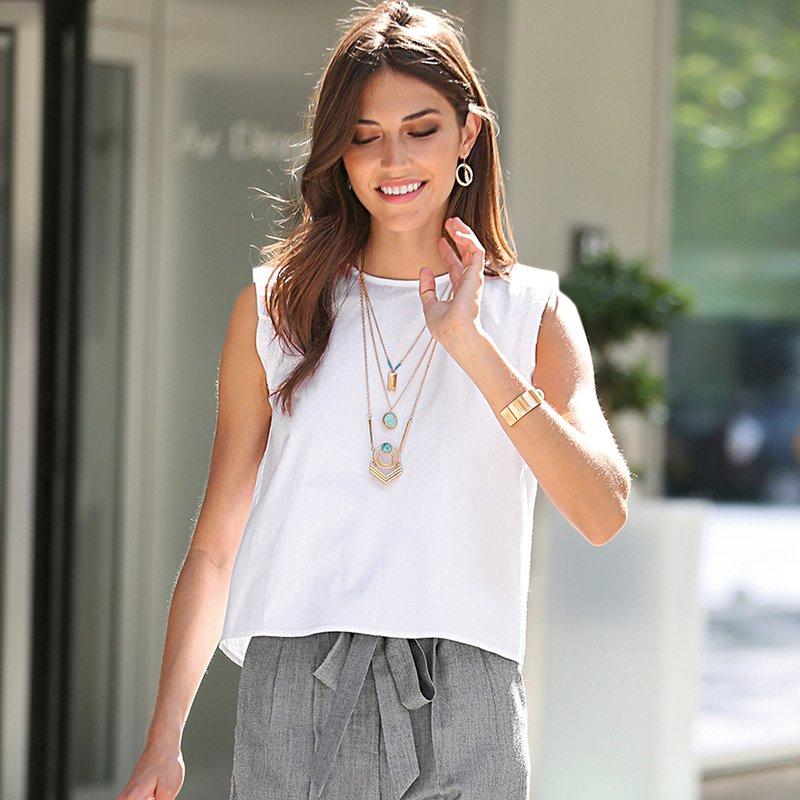 Blusa mujer mini manga con cremallera trasera