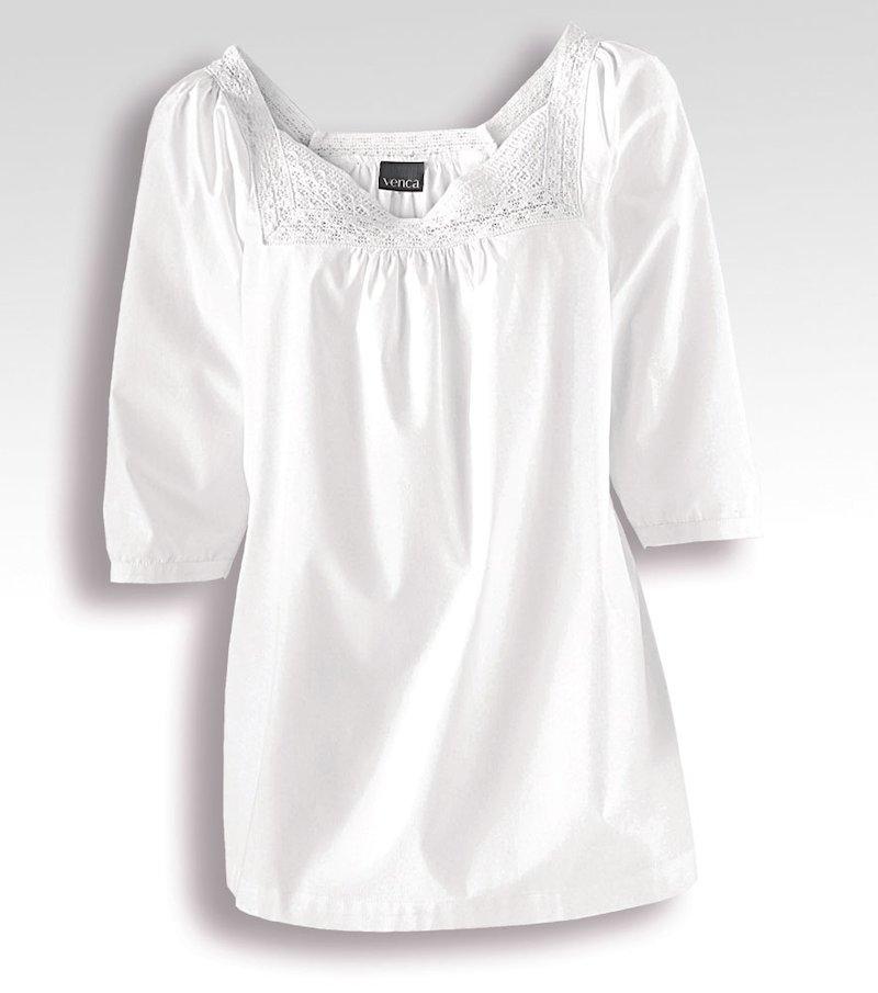 Camisa mujer manga 3/4 con ganchillo 100% algodón