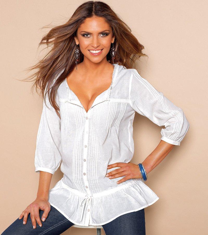 Camisa blusa mujer con puntilla 100% algodón