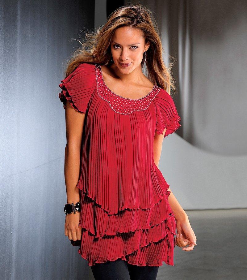 Blusa fiesta mujer plisada con aplicaciones - Rojo