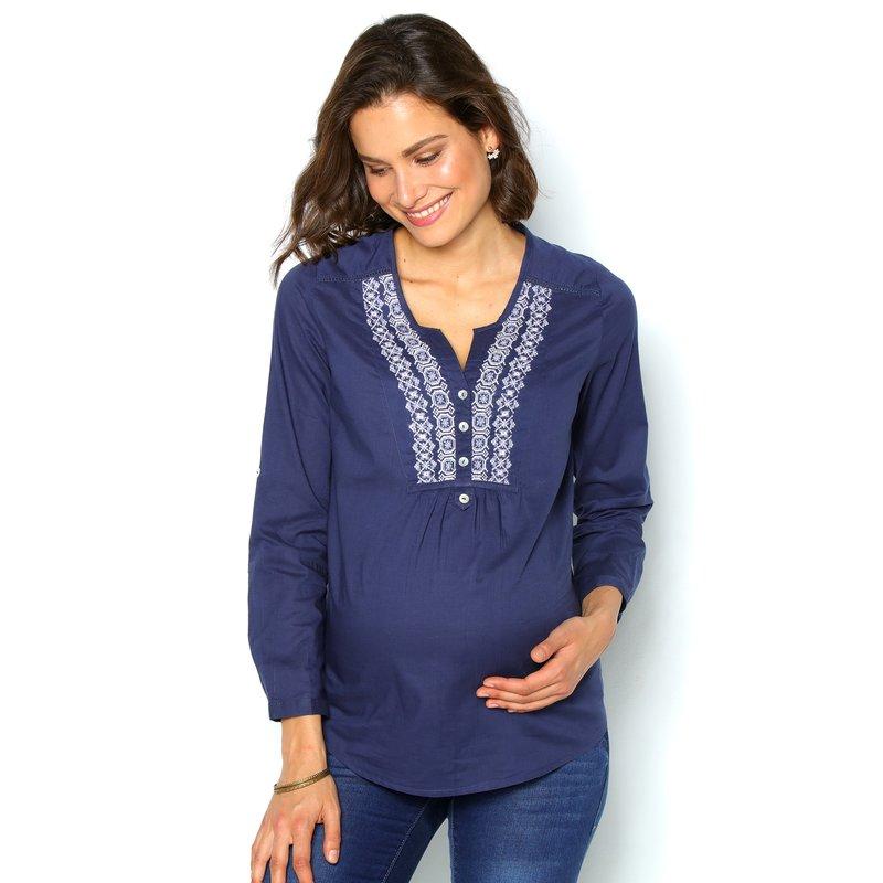 Blusa de algodón con canesú bordado - Azul
