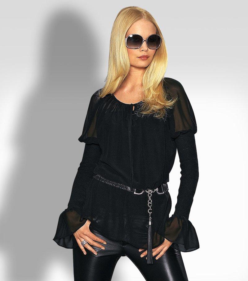 Camisa mujer manga larga de gasa - Negro