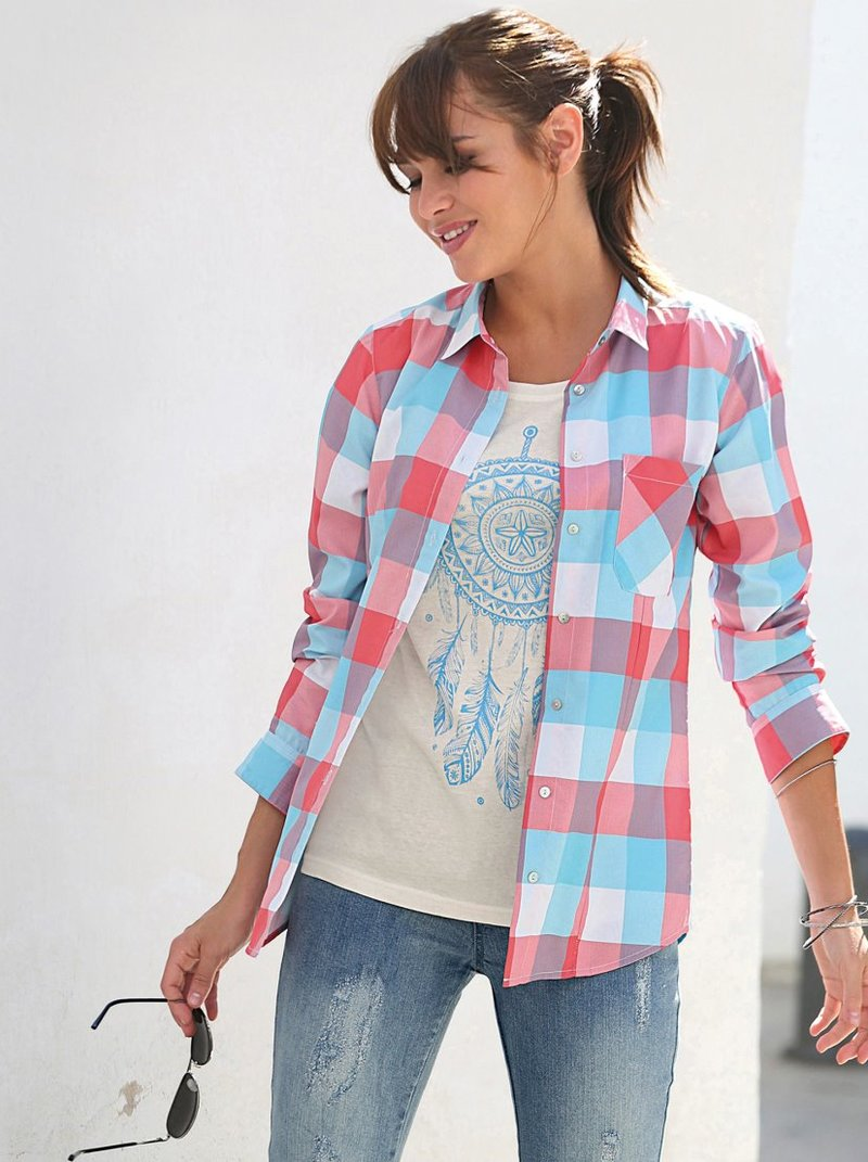 Camisa de cuadros tejidos mujer de manga larga