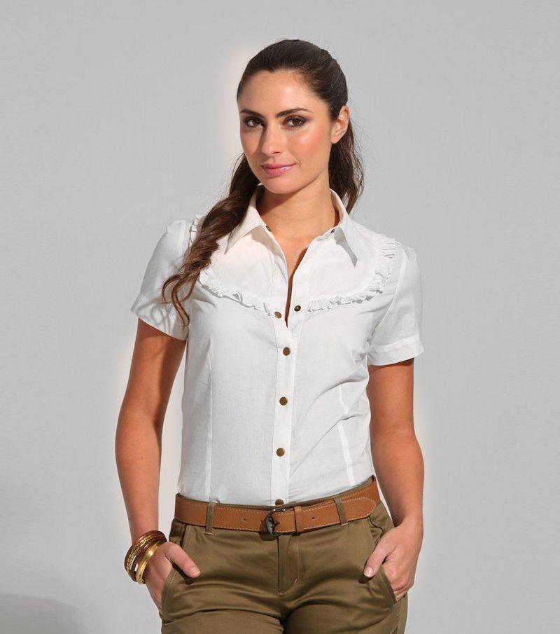 Camisa blusa mujer manga corta 100% algodón - Beige