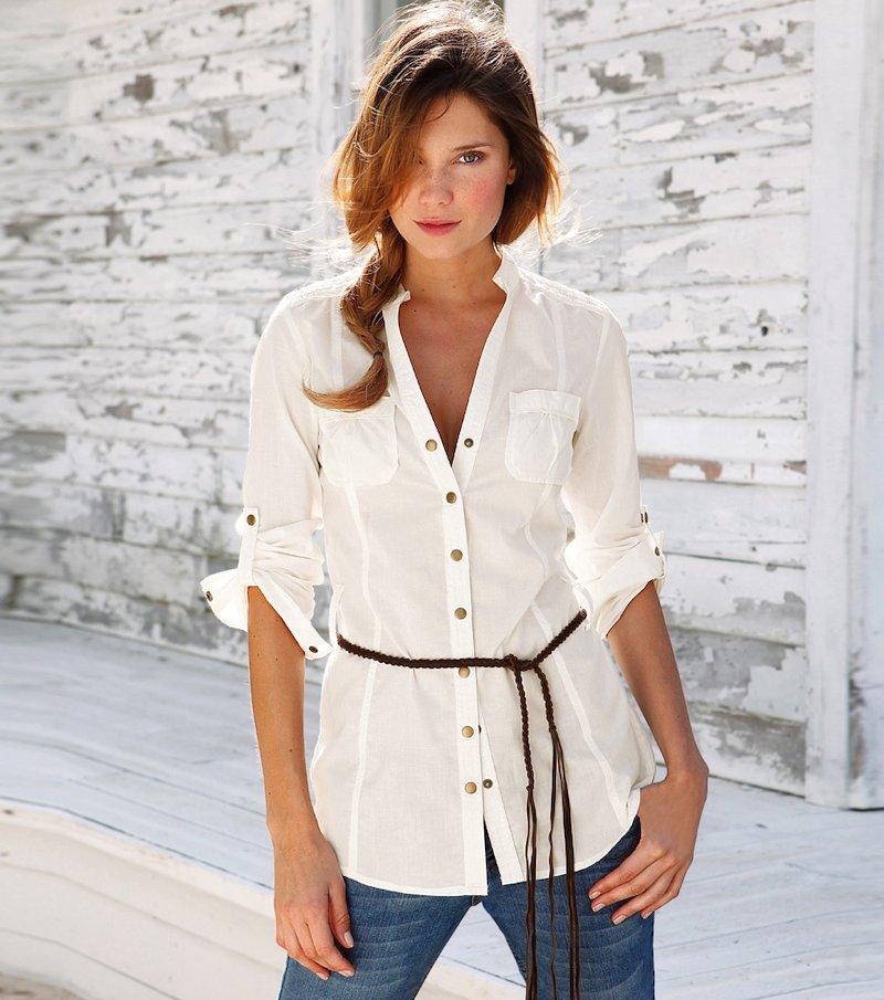 Camisa blusa larga mujer 100% algodón
