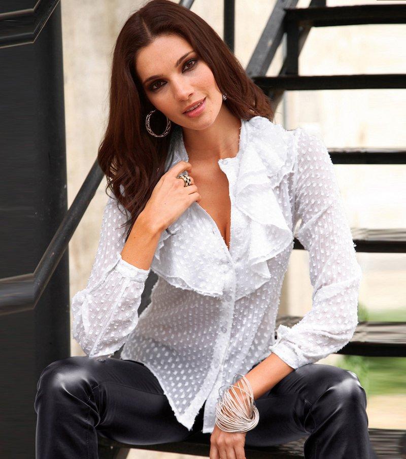 Camisa mujer manga larga con volantes