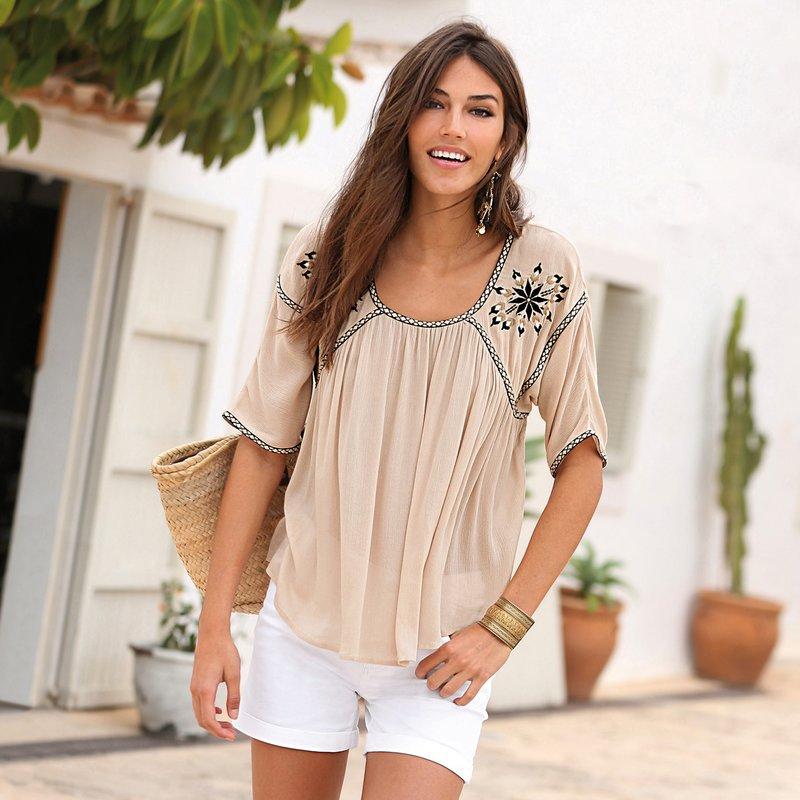 Blusa mujer manga corta con cintas y bordados