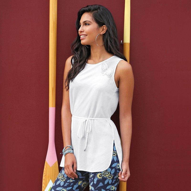Blusa larga sin mangas mujer con bordado y cinturón - Blanco