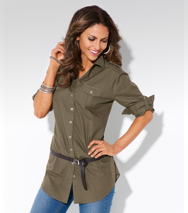 Camisa blusa larga mujer manga larga 100% algodón