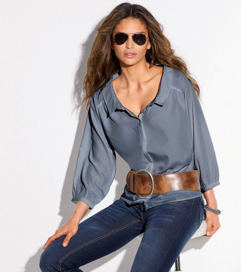 Camisa blusa mujer manga 3/4 - Azul