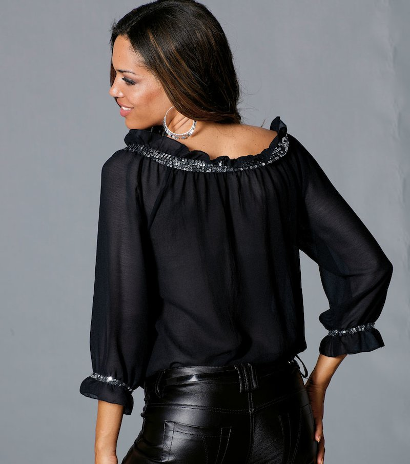 Camisa blusa mujer manga 3/4 con lentejuelas