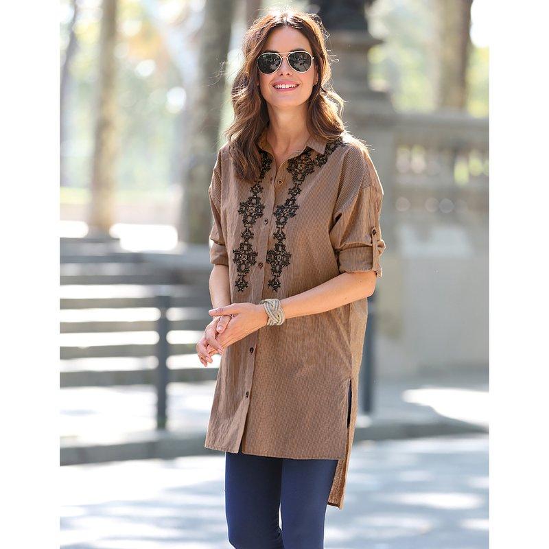 Camisa larga mujer bordado frontal y largo asimétrico