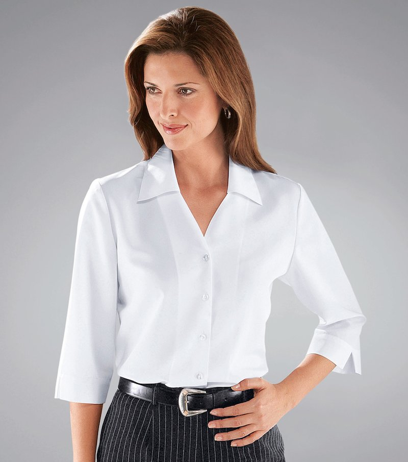 Camisa blusa mujer manga 3/4 corte clásico