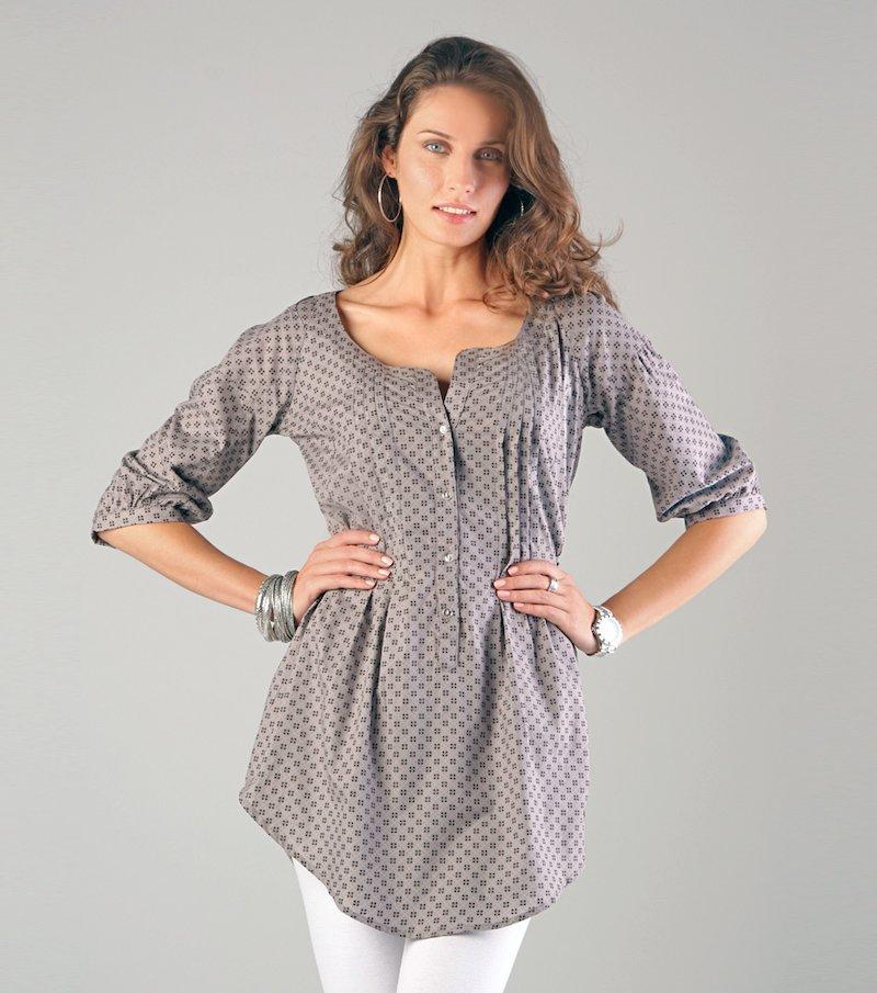 Camisa larga mujer con jaretas 100%viscosa