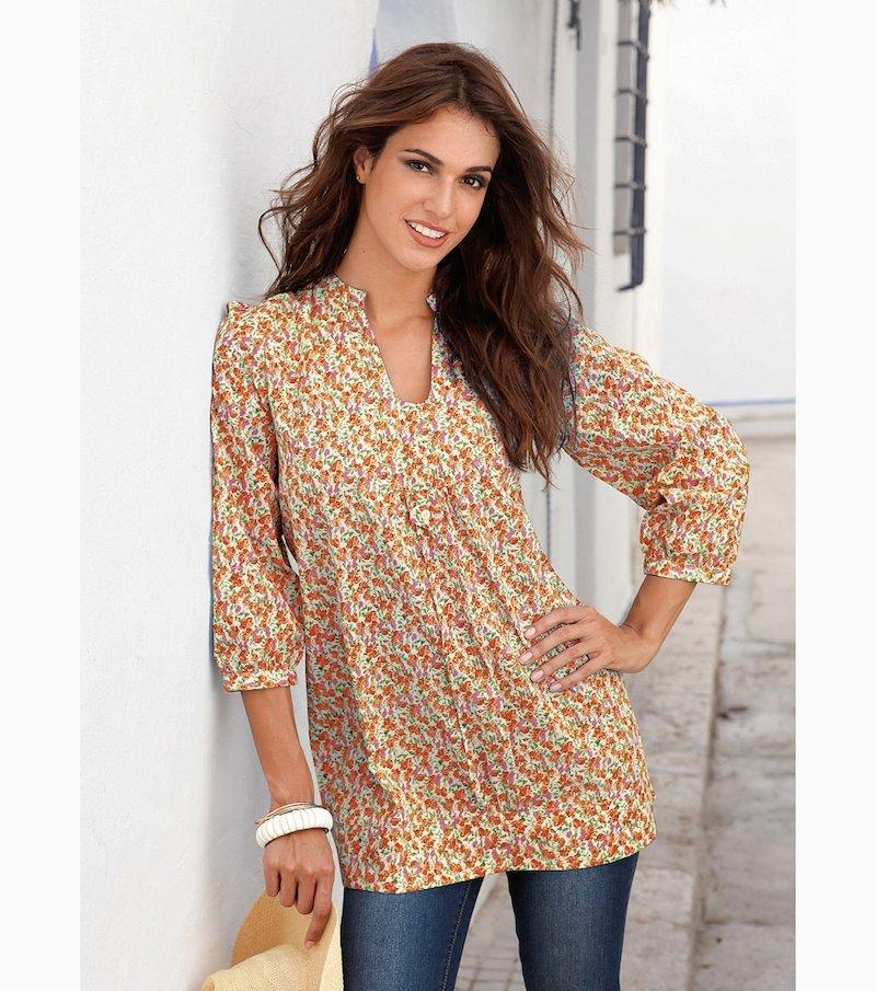 Camisa blusa larga mujer estampada 100% algodón - Amarillo