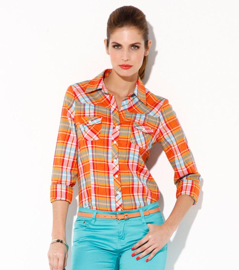 Camisa blusa mujer manga larga cuadros de algodón