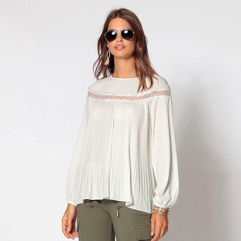 Blusa manga larga evasé mujer plisada con encaje