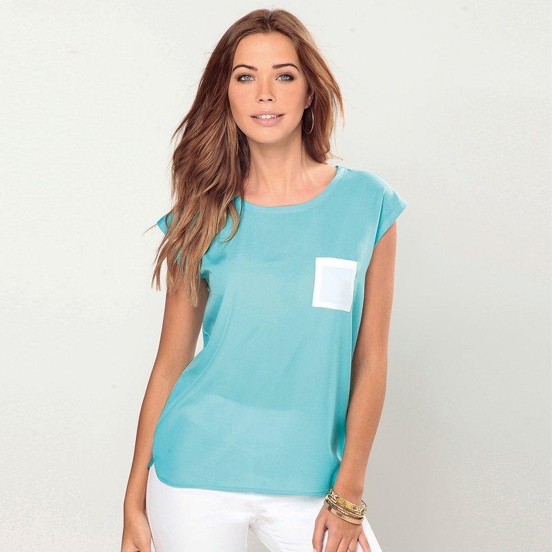 Blusa mujer manga corta con bolsillo de plastrón - Azul