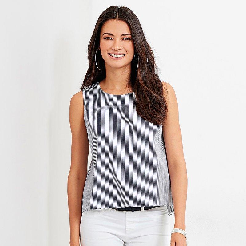 Blusa sin mangas de rayas mujer con espalda cruzada - Blanco