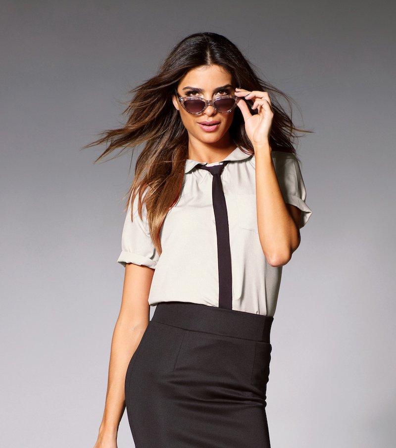 Camisa blusa mujer manga corta con lazada