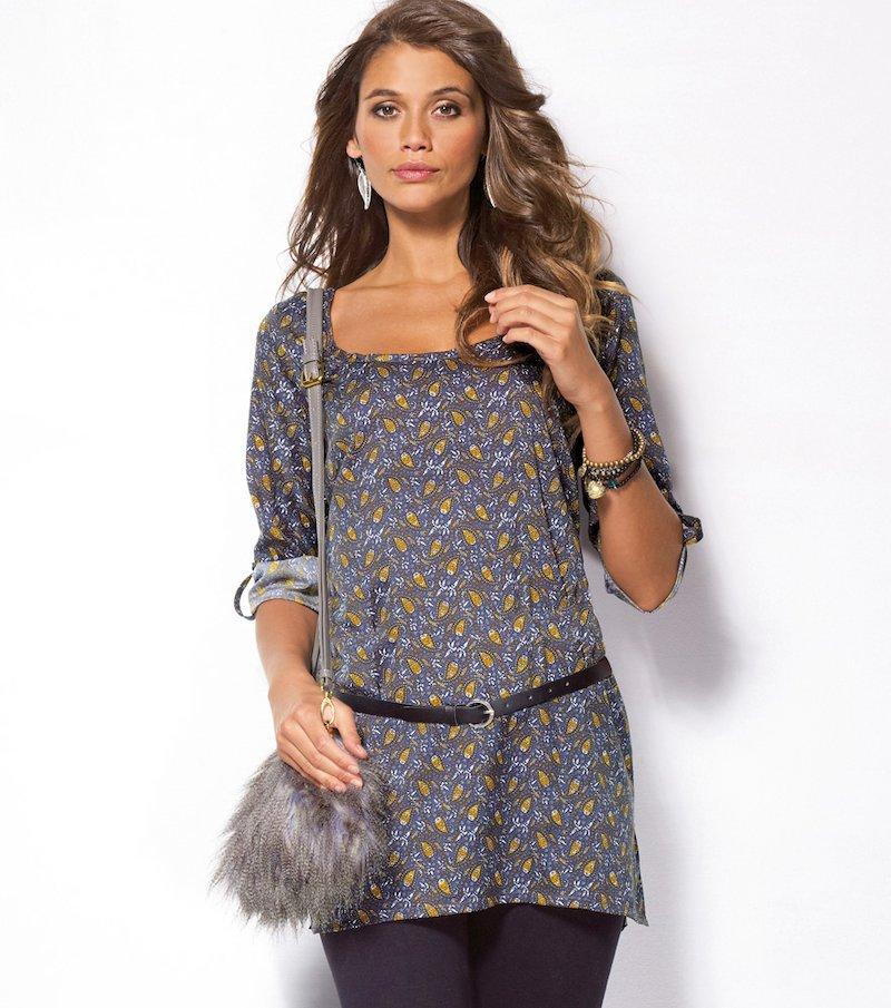 Camisa-túnica mujer manga 3/4 con cinturón