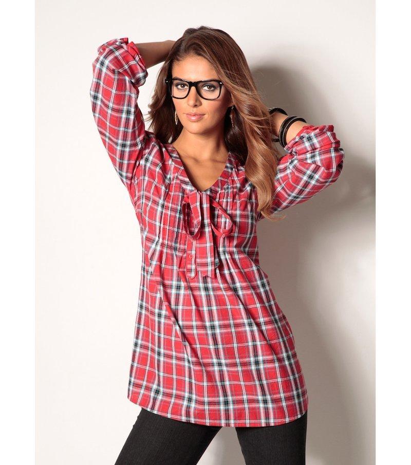 Camisa mujer manga 3/4 cuadros 100% algodón