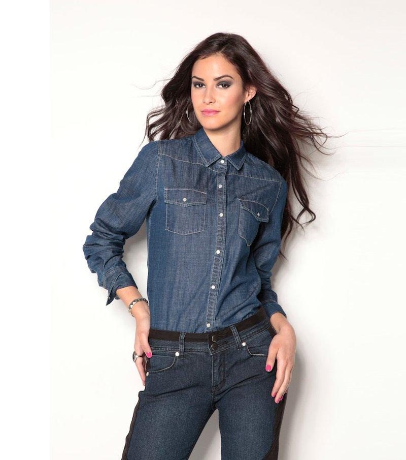 Camisa vaquera mujer manga larga 100% algodón - Azul