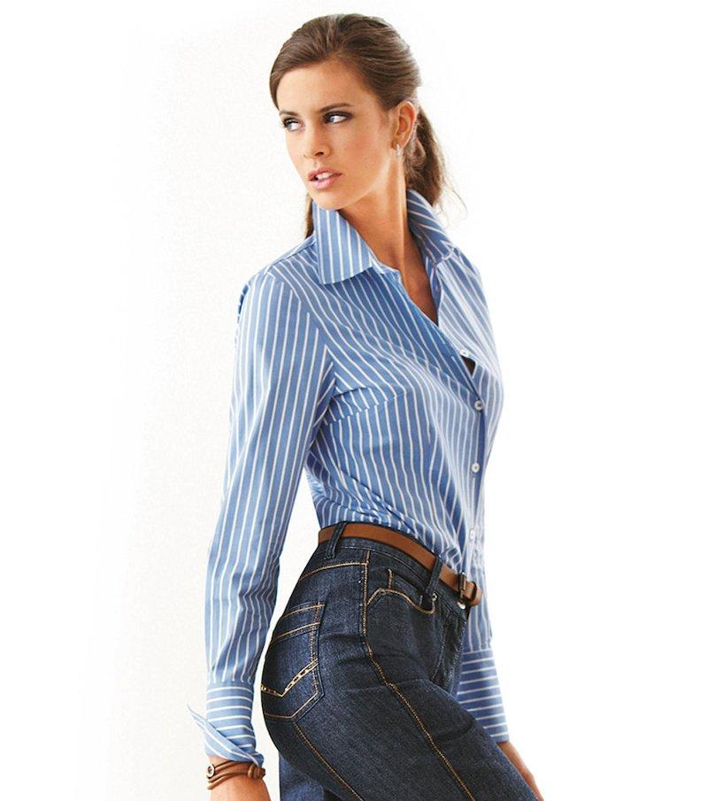 Camisa blusa mujer manga larga con puño cerrado