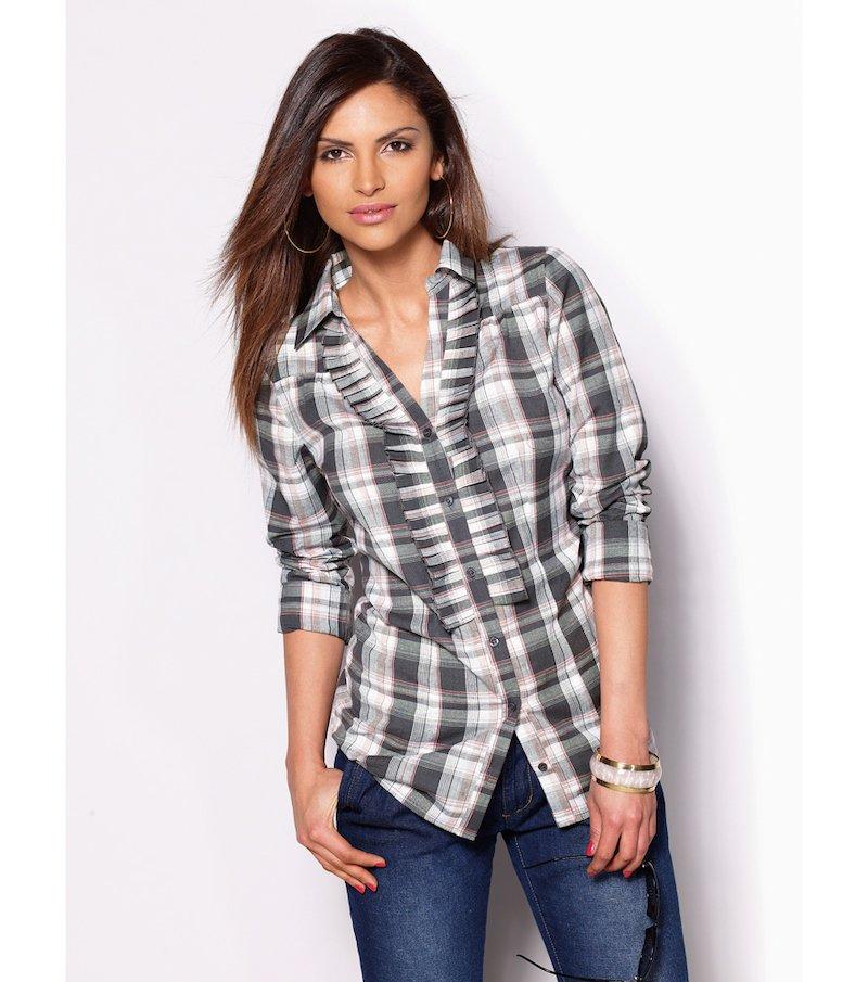 Camisa mujer manga larga con volante 100% algodón