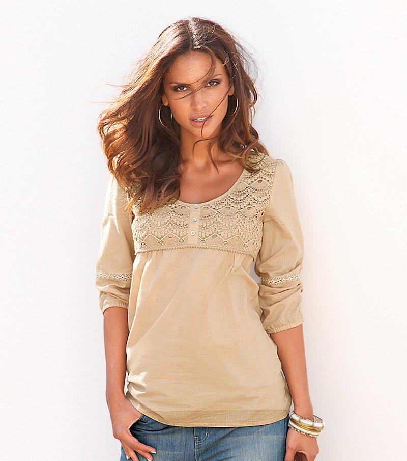 Camisa mujer manga 3/4 con puntilla y guipur
