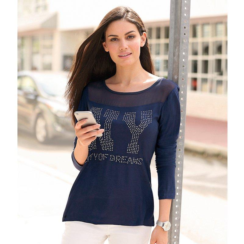 Camiseta mujer con canesú semitransparente