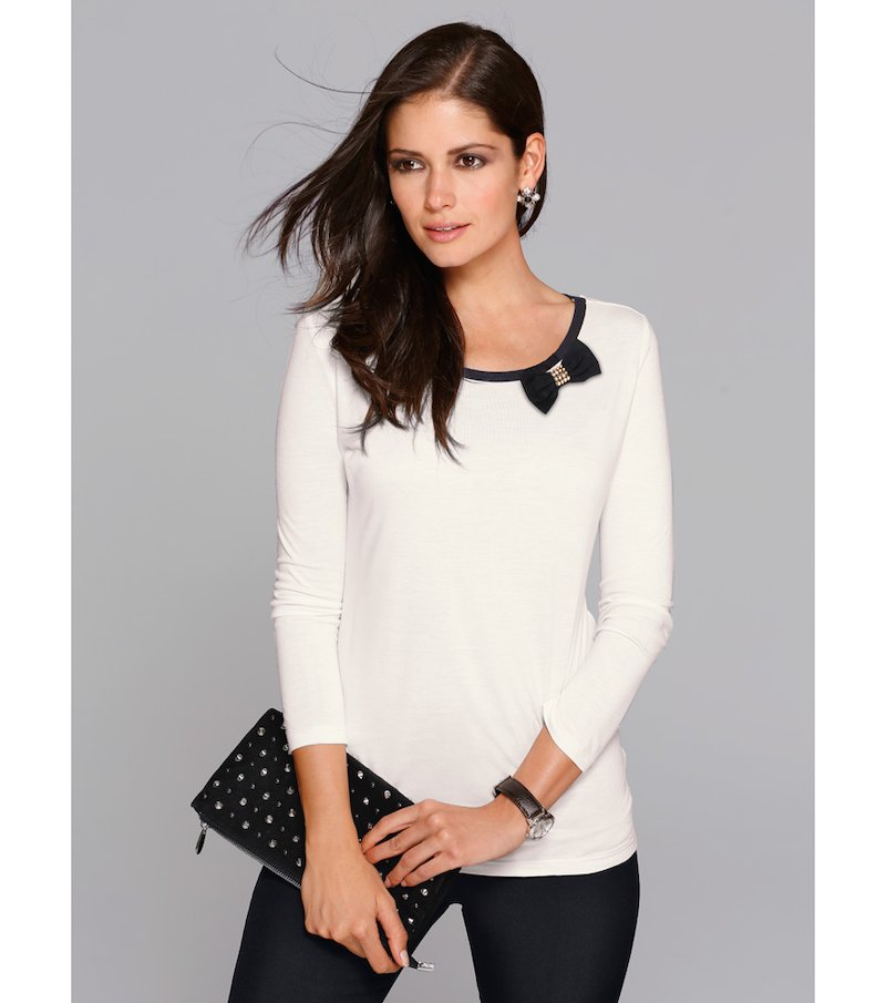 Camiseta mujer manga 3/4 con broche