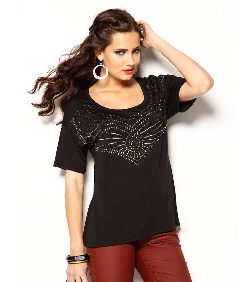 Camiseta mujer manga corta aplicación de tachuelas - Negro