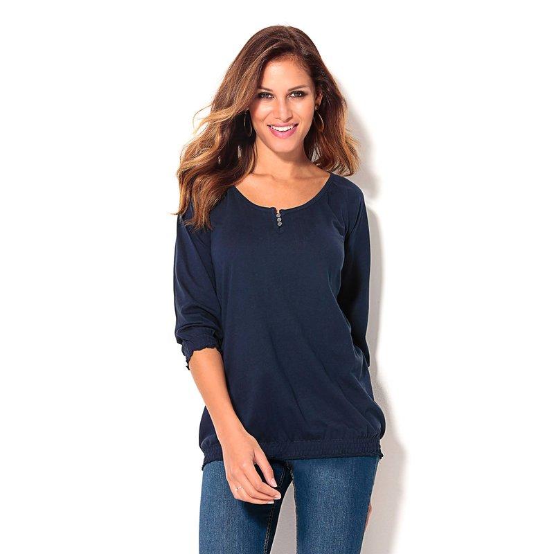 Camiseta mujer manga 3/4 con jaretas 100% algodón
