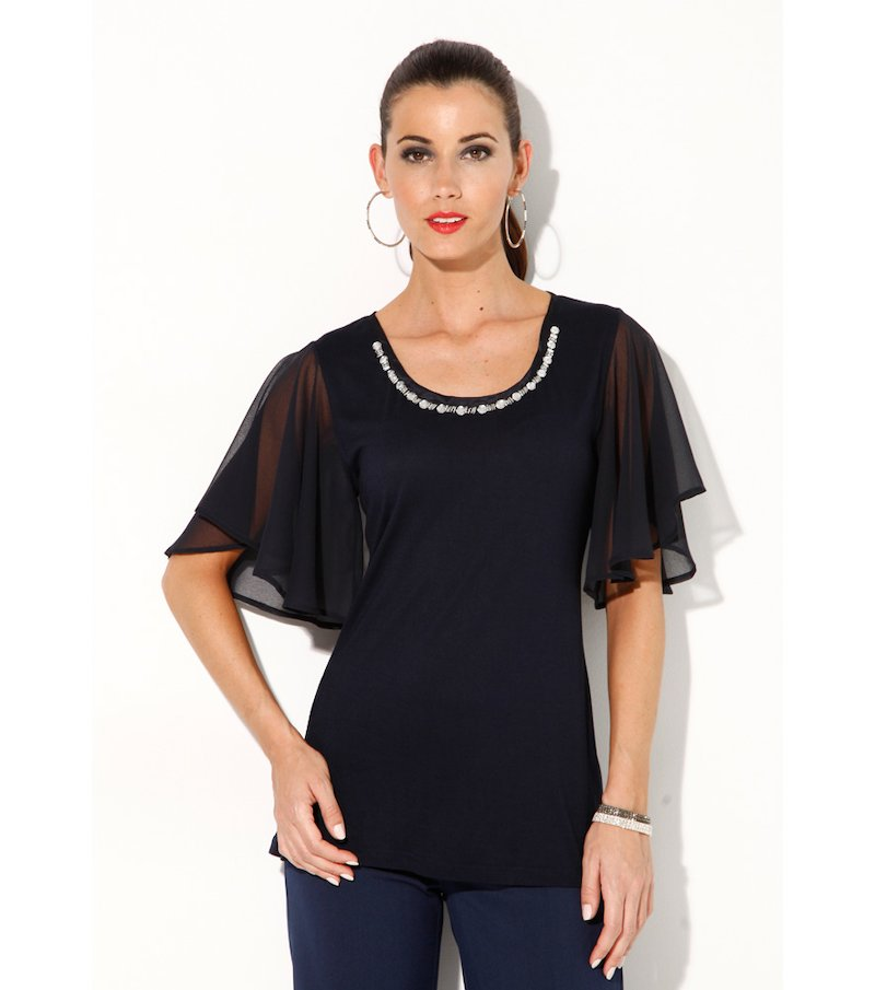 Camiseta mujer fiesta con pedrería