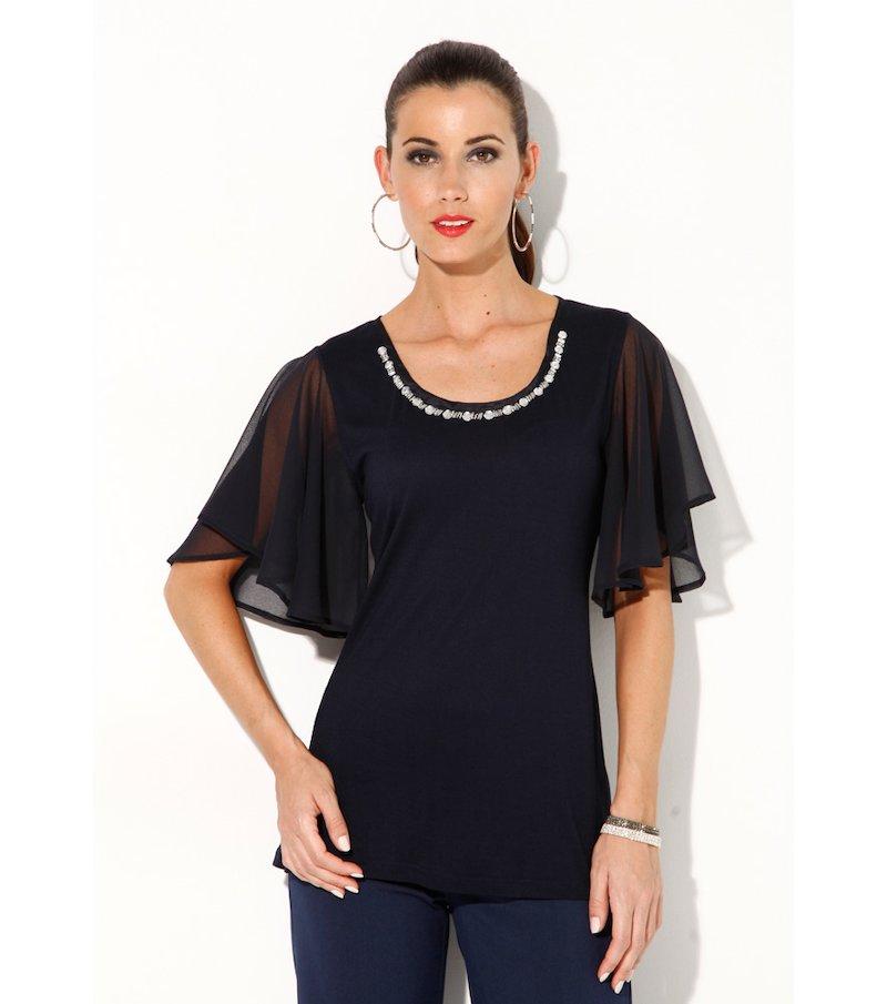 Camiseta mujer fiesta con pedrería - Azul