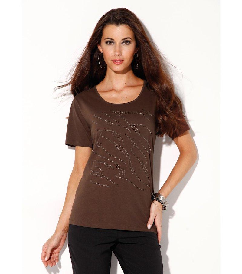 Camiseta mujer manga corta strass de lineas puras - Marrón