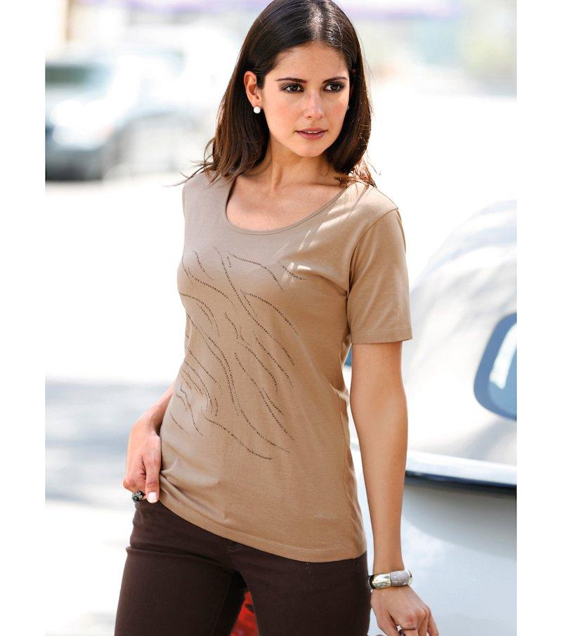 Camiseta mujer manga corta strass de lineas puras