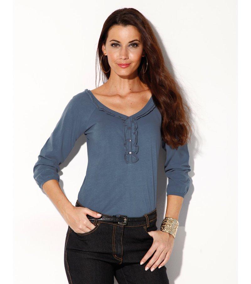 Camiseta escote V mujer manga 3/4 con volantes - Azul