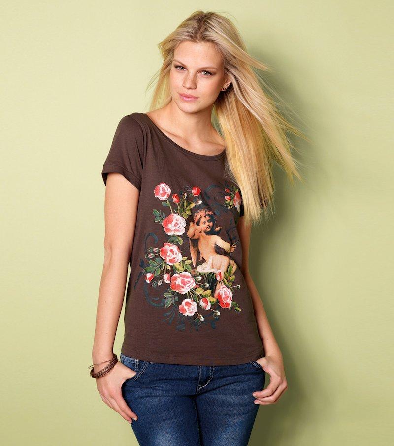 Camiseta mujer estampada ángel y flores - Marrón