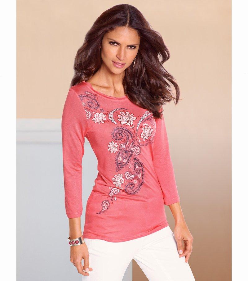 Camiseta mujer manga 3/4 estampado romántico