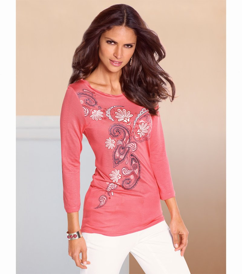 Camiseta mujer manga 3/4 estampado romántico - Rosa