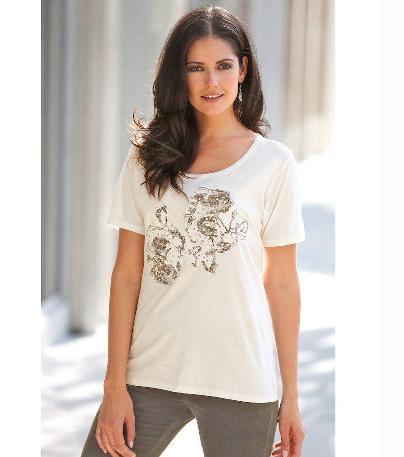 Camiseta mujer diseño bordado lentejuelas